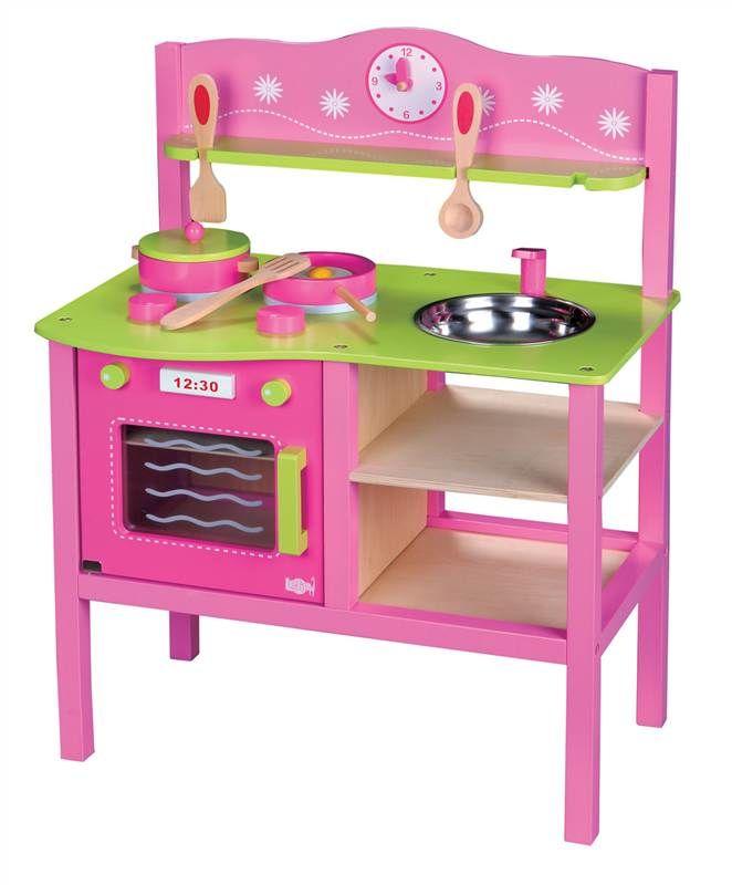 Drewniana Kuchnia Dla Dzieci Lelin Różowa