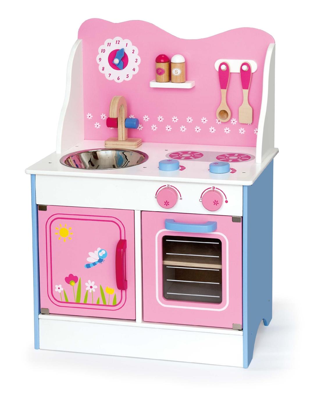 Drewniana Kuchnia Dla Dzieci Różowa Viga